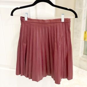 J.Crew Faux Leather Pleated Skirt Merlot Size 00